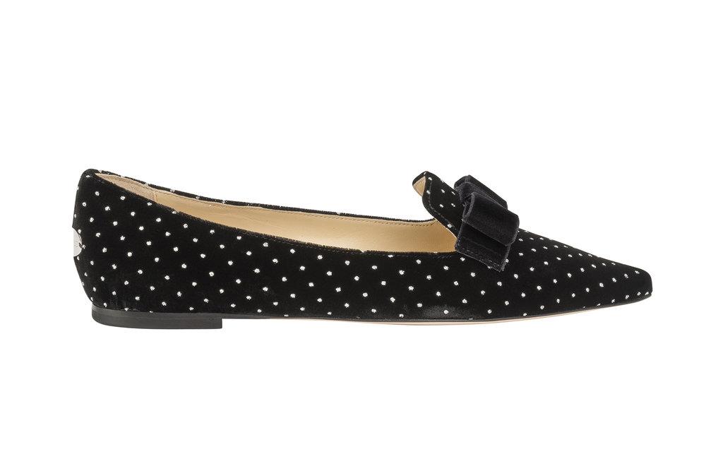 Gala Glitter Spotted Velvet Loafer   Black/Silver