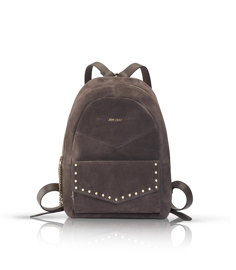 Cassie Suede Backpack with Studs   Dark Grey