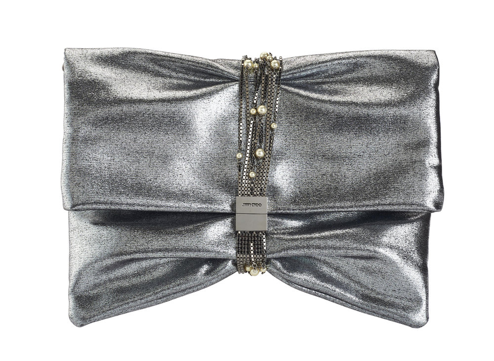 Chandra M Metallic Satin with Pearl Chain Clutch   Silver