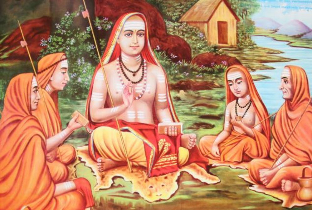Adi Shankaracharya of mid 500BC, one of the greatest monks of India, giving discourse to  the Guru lineage, in the Sanskrit based Shurthi Smurthi method...