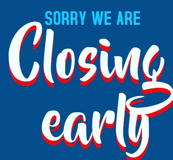 CLOSING EARLY at 3 PM today to prepare for a private event!  Sorry for any inconvenience!
