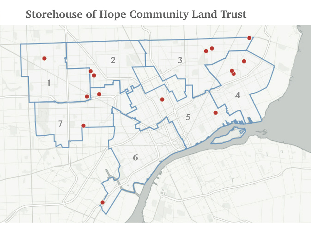 The map indicates the locations of the homes that now make up the Storehouse of Hope Community Land Trust.  The homes are located within all seven of the currently identified council districts for the City of Detroit.