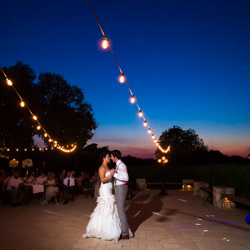 First dance at sunset Vineyard at Chappel Lodge