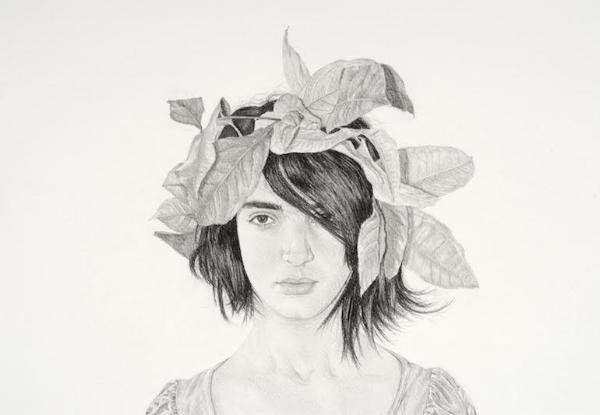 Samah Shaidi, Portrait with Lemon Leaves , 2014, pencil on paper, 40/30 cm