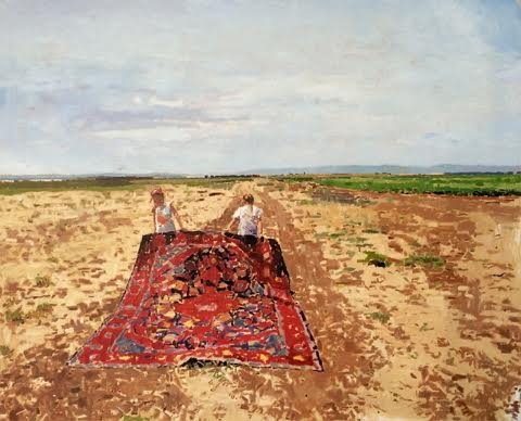 Fatma Shanan,  Two Girls Holding a Carpet , 2015, oil on canvas, 80/100 cm