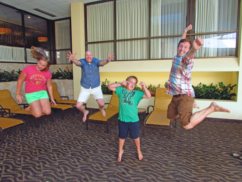Jumping for joy with our niece and nephew, Annie & Riley