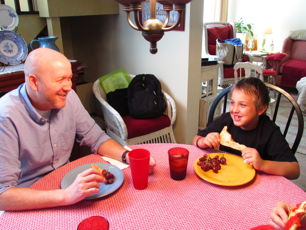 Riley and Uncle James like pizza and jokes