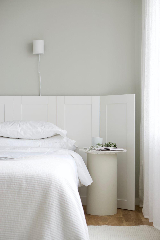 Interior design for project 'Östra Kanalstaden',  together with Loft Sthlm for JM 2018. Custom made headboard and bedside tables by Lovisa Häger.