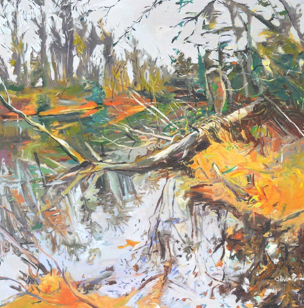 Fallen Tree on a Dreary Day / 2018 / Acrylic on Wood / 18x18 / $495