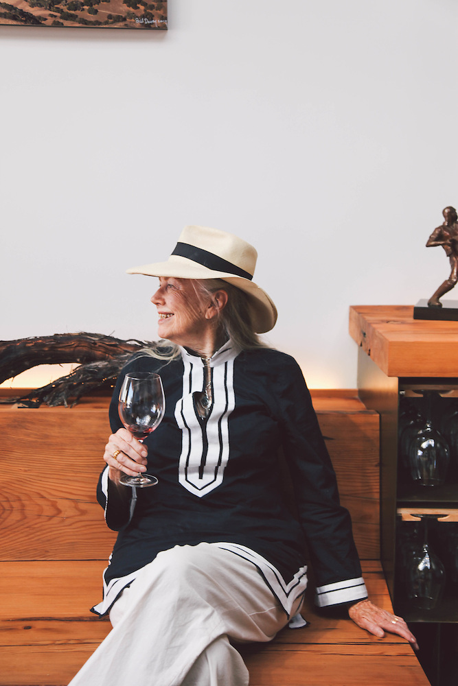 Betty Fussell enjoying a Pinot at Alma Rosa Tasting Room in Buellton, CA Photo by Amy Dickerson