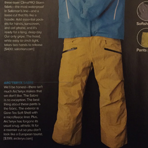 Arc'teryx Sabre Pant – Skiing Magazine Gear Guide 2011