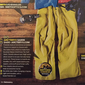 Arc'teryx Sabre Pant – Backcountry Magazine, Editors Choice 2011