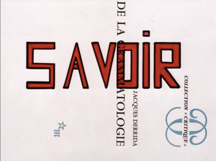 Image of the original cover of Derrida's Of Grammatology as it appears in Godard's Le gai savoir (1969), just two years after the book's publication.