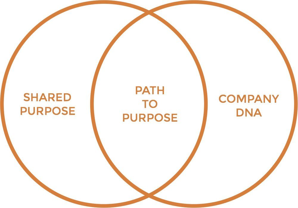 Path to Purpose lies at the intersection of your shared purpose and your DNA. The shared purpose is what makes it universally accessible and valuable, whether creating beauty, improving health, or making people smile. The DNA is what makes it uniquely yours.