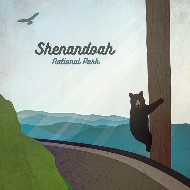 Greetings from Shenandoah National Park! One of our go.to places to hang out with bears, trees, and waterfalls. . . . . . .  #getoutside .  #illustration #photoshop #vectorart #flatdesign #at #backpacking #digitalillustration #digitalart #illustrator #graphicdesigner #illustrationart #graphicdesigndaily #illustrationdaily #gfx_daily #artist #childrensbookillustration  #graphicdesigninspiration #pixel #brand #digitalpainting #dailydesignpick #appalachiantrail #hiking #logo #shenandoahnationalpark #bear #blueridgemountains #hike #hiker