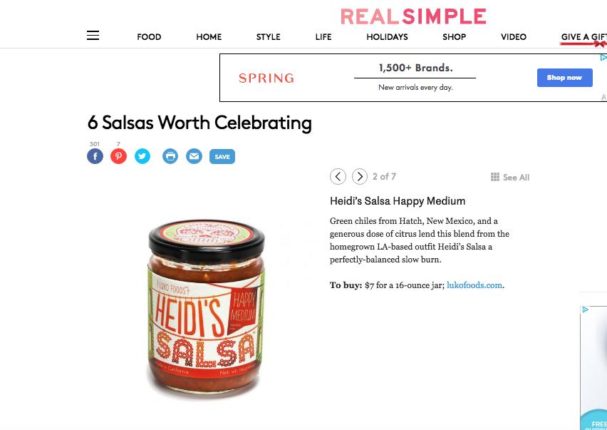"REAL SIMPLE  - April 2015  ""6 Salsas Worth Celebrating"""
