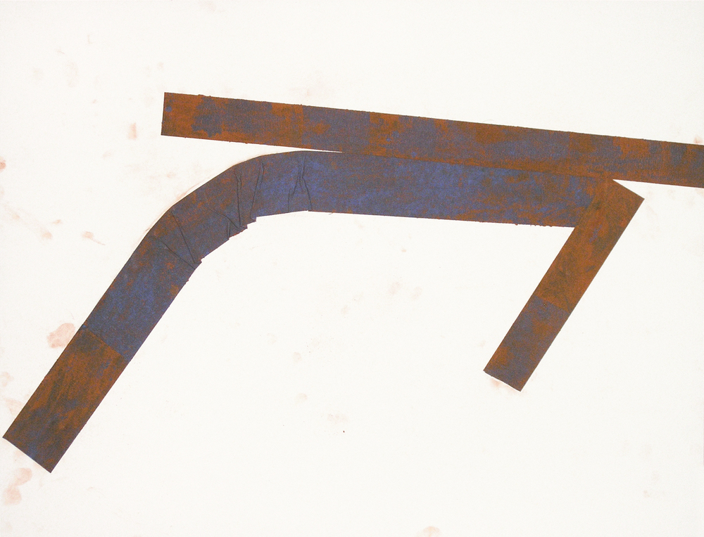 Untitled (rd.08.51), 2008 blue tape, red earth on paper 18 x 23 3/8 inches Collection of the Colby College Museum of Art
