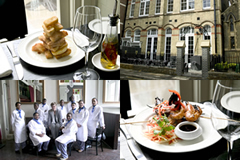 From top right:  The Hoxton lunchtime stack; The Restaurant was in a former Pirmary School; Me with a class of apprentices; Chilli Prawns