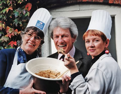 The late Lord Patrick Lichfield, the famous photographer (seen here between me and TV chef Sophie Grigson).  Patrick was an active Trustee and supporter of the Great British Kitchen.