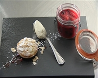 Glynn Purnell -  Bakewell tart with double cream ice cream and instant cider fruit jam