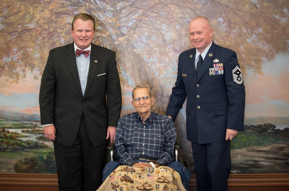 Catawba Regional Hospice veteran pinning (l-r) Josh Ward, Glenn Canipe, Daryl Cornett.