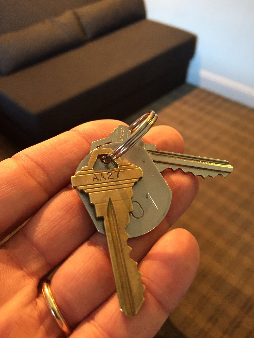 Keys to room at the CharlesMark Hotel