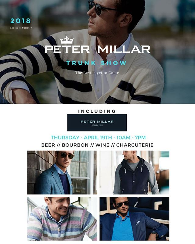 Trunk Show season continues this Thursday with Peter Millar. Every season, Peter Millar blows our expectations away. In an industry where it may be easy to rest on one's laurels, Millar continues to innovate and push the boundaries of design and detail from one season to the next. Come see why the best is yet to come with this iconic brand.
