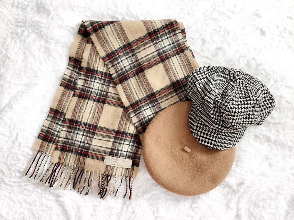 Lochcarron Scarf, Caramel Beret & Houndstooth Cabbie Hat from Forever 21