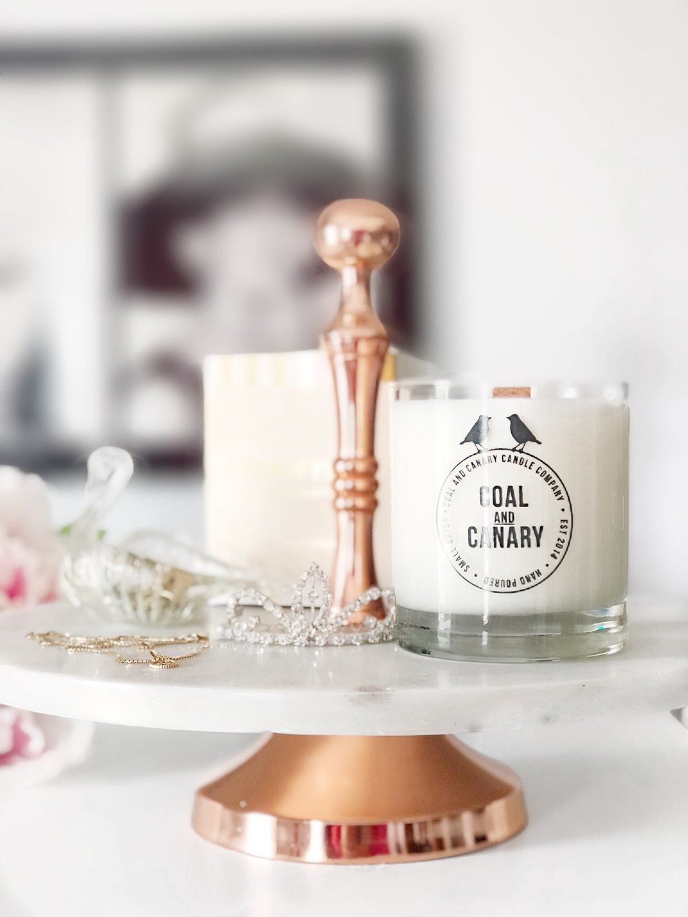 Marble & Rose Gold Stand and Coal and Canary Candle