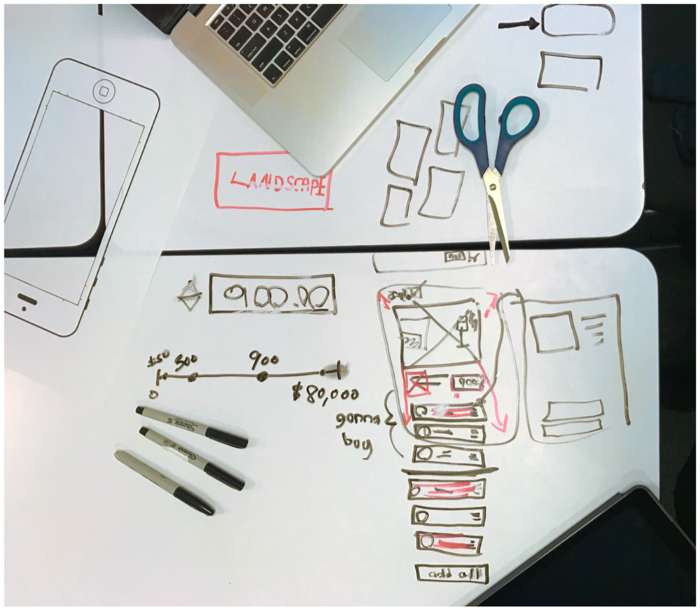 Our initial sketches included a full page bleed of a designer room, with the ability to scroll down and add the products in the room directly to the shopping cart.