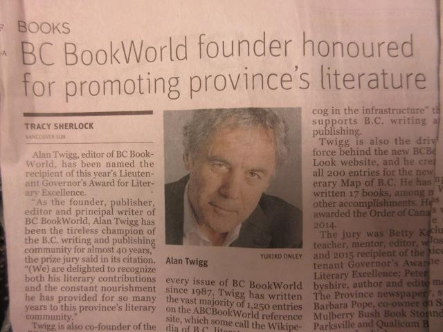 Alan Twigg honored Governor General's Award March 23, 2016 - The SUN Newspaper