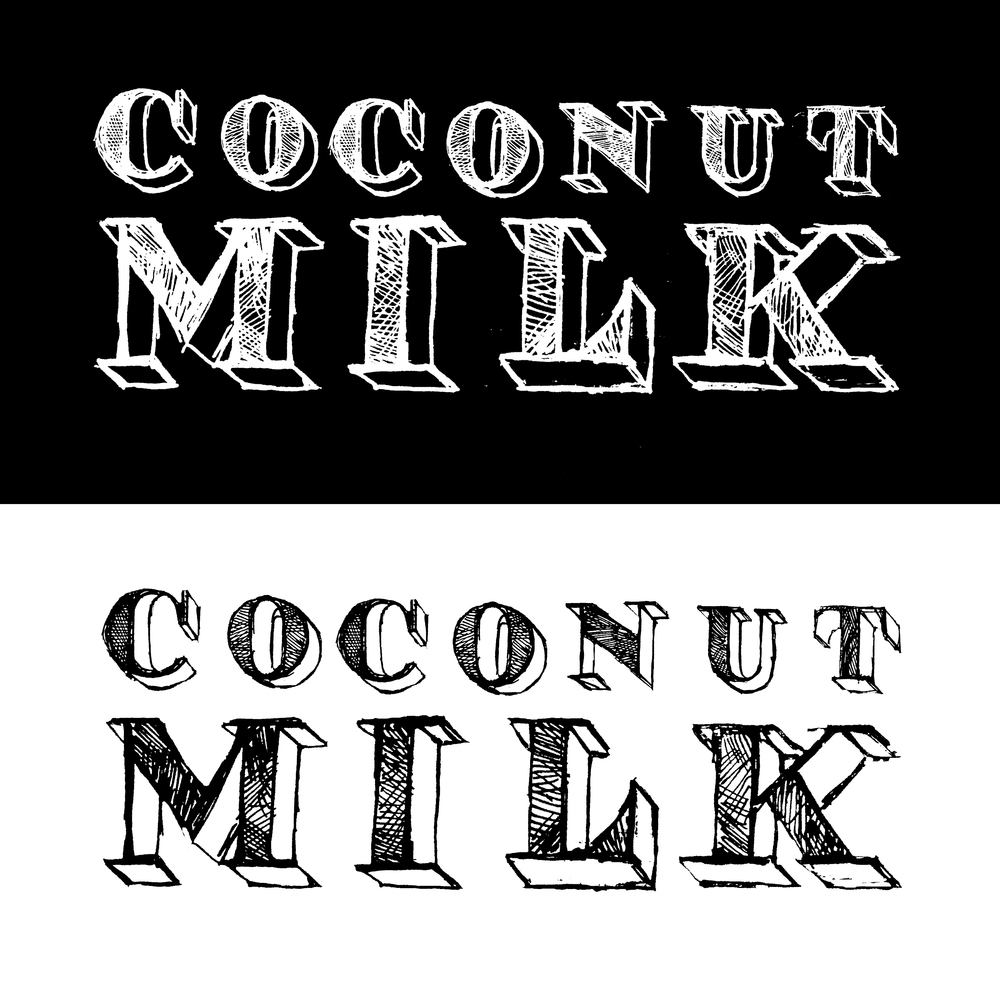 Coconut Milk is a promising new indie rock act from Cincinnati, Ohio. Their main branding is the work of another local artist but I was commissioned for a logo that was modest and somewhat formal but while still being sketchy and playful. Paul O'Moore (bass)and myself have since collaborated on several other large scale art and music projects including, two music festivals.  Check out their music at coconutmilk.bandcamp.com