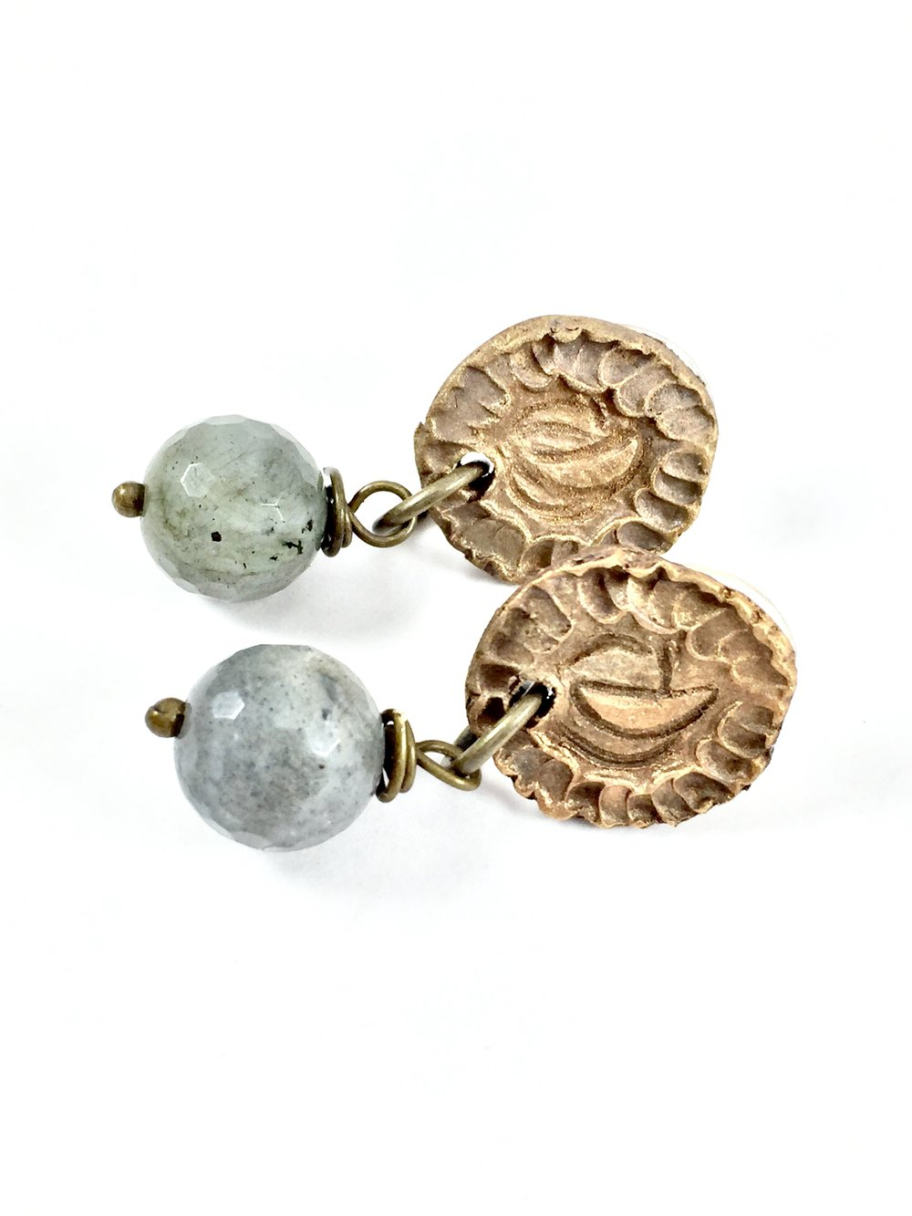 Labradorite drop earrings with bronze metal pendant.