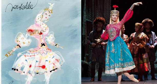 Costume sketch and actual costume for Paris' Opera's La Source