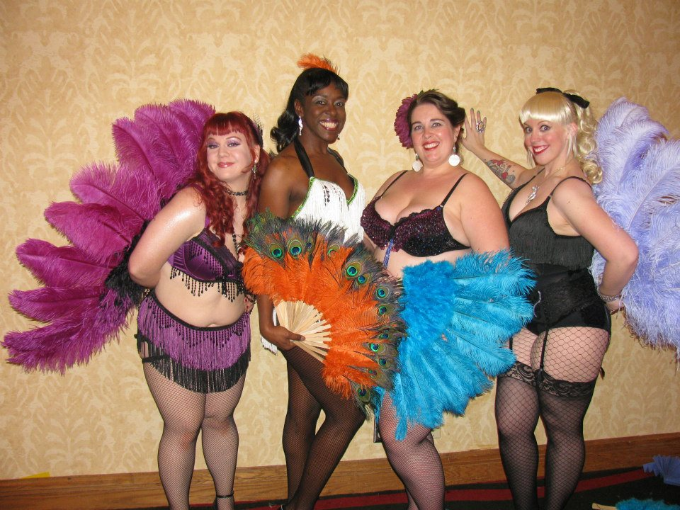 BurlyCon 2012 Guinness World Record: World's   Largest Fan Dance: 252 participants!    Participants pictured from left: Bunny Wigglebottom, Lola LeSoleil, Rena LaMarr, Siren Santina