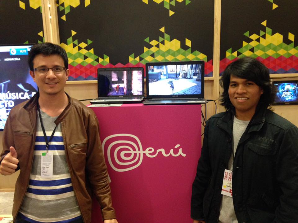 Mauriccio on the left and Ramanand on the right showing Stage 3 during the  MICSUR 2016  event in the Peruvian booth
