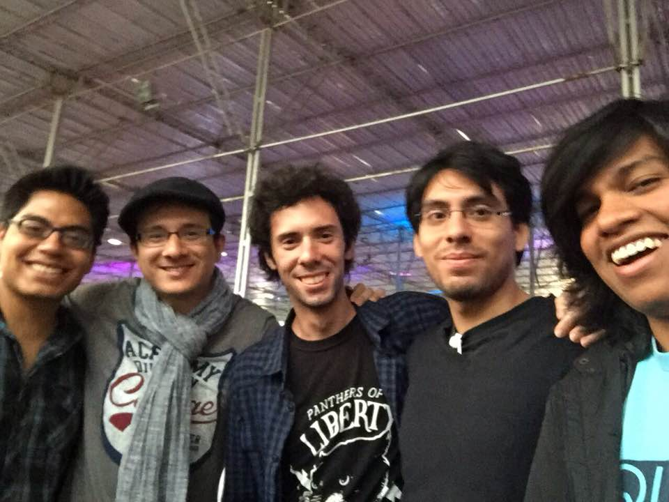 From left to right: Antonny, Mauriccio, Guillermo, Andres and Ramanand during the  Mas Gamers Tech Festival