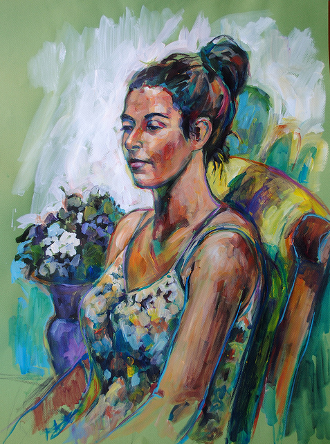 Nina  on Flickr.   NIna, Approx 3 hour study with the East Bay Figure Painting Group. Acrylic on paper.