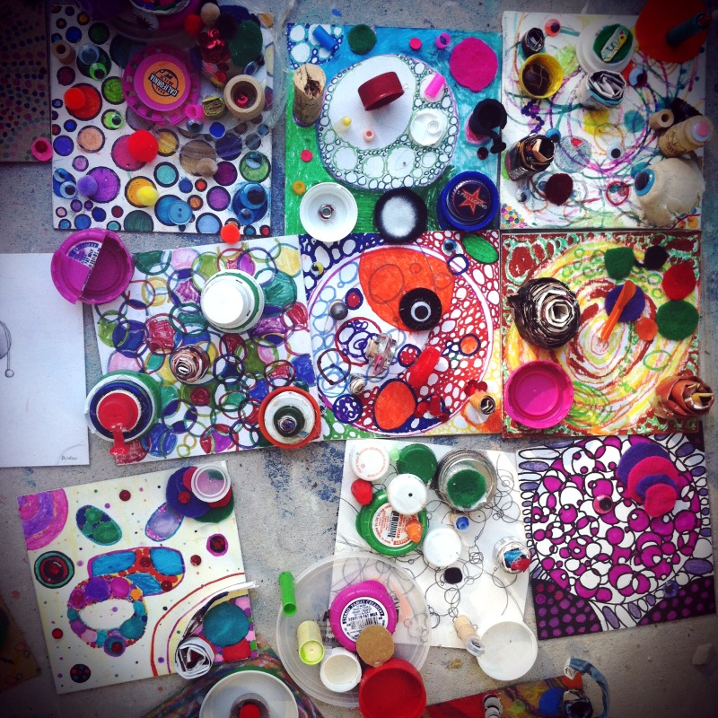 This week I taught  4th/5th/6th graders. Circle studies. Mixed media on cardboard.