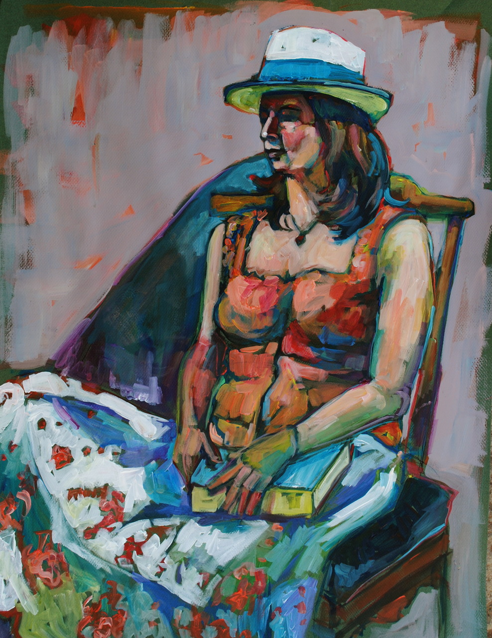 Figure Study with the group at Firehouse North in Berkeley yesterday. Cropped the figure for a better composition. Approx. 2.5 hours. Acrylic on canson paper.