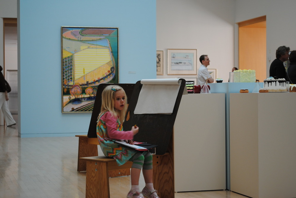 Amelia sketches during the  Wayne Thiebaud  show at the San Jose Museum of Art.