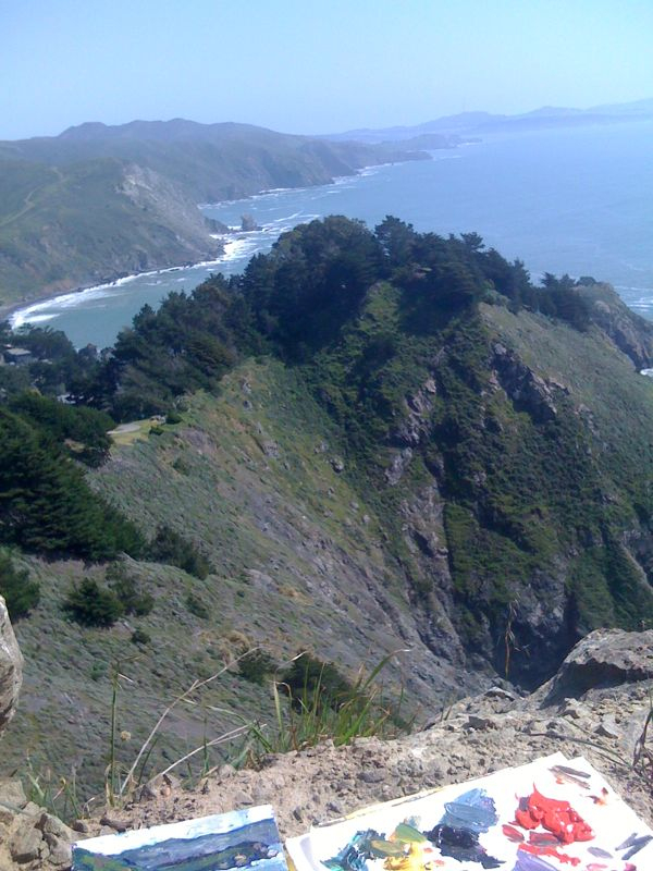 Nice studio view today. Trying to figure out the landscape at Muir Beach Overlook.