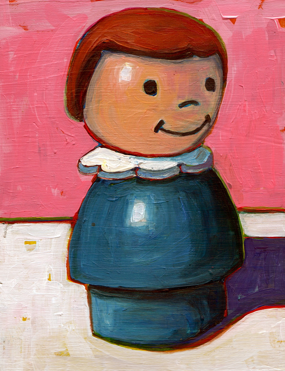 Daily Painting. Fisher Price Girl. Acrylic on Recycled Wood.  Sold.