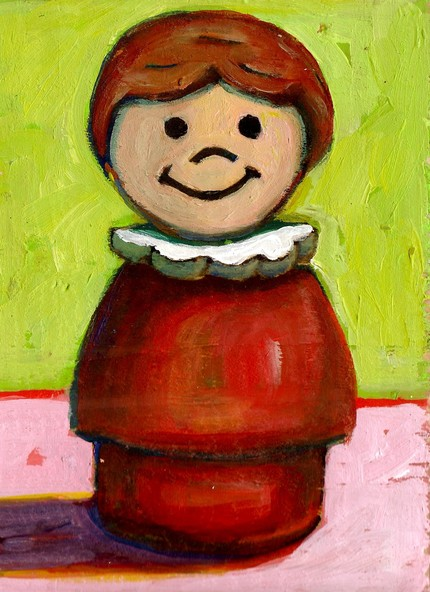 Daily Painting. Fisher Price girl with brown hair on recycled wood.  sold.