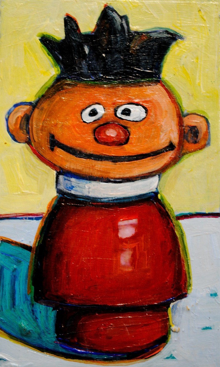 Daily Painting. Fisher Price Ernie. Acrylic on Recycled Wood. Available in my  Etsy Shop.