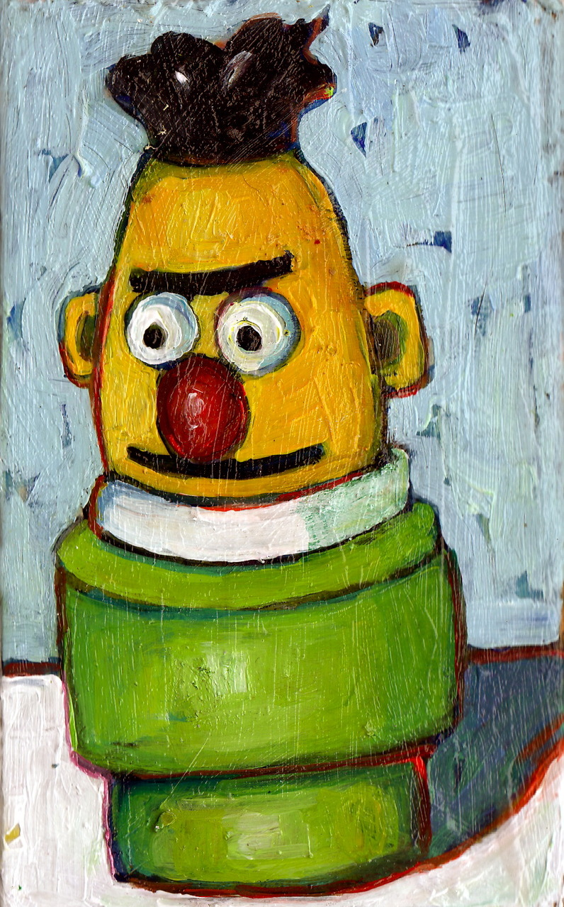 Daily Painting. Fisher Price Bert. Acrylic on Recycled Wood.  Sold.
