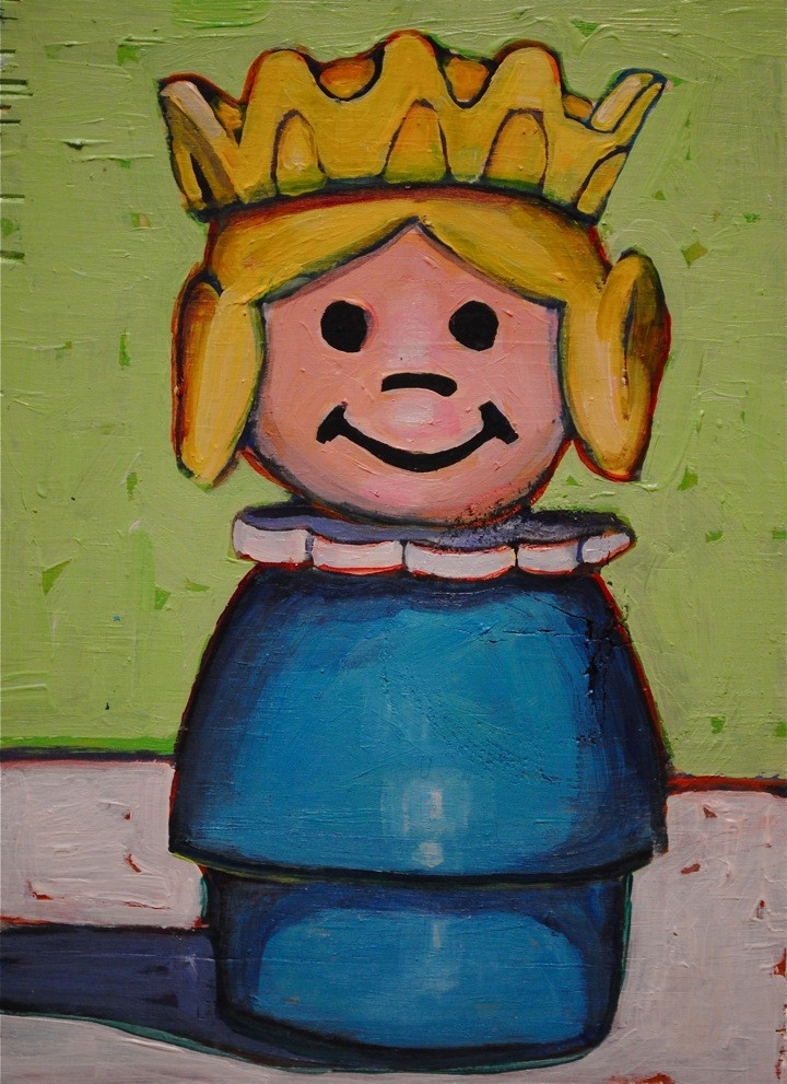 Daily Painting. Fisher Price Queen/Princess on Recycled Wood. Acrylic on recycled wood. Available in my  Etsy Shop .