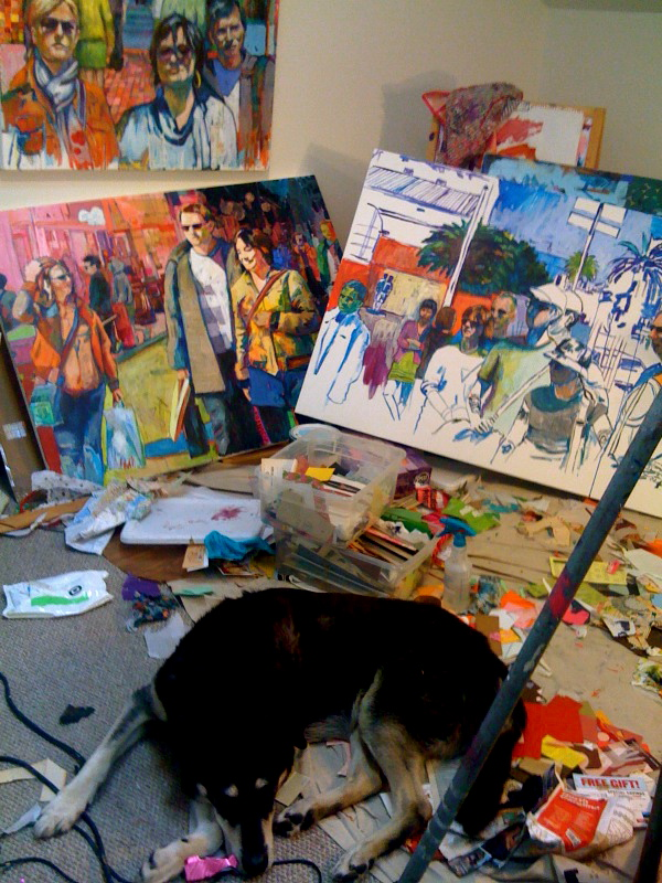Studio view. Tex made the mess.