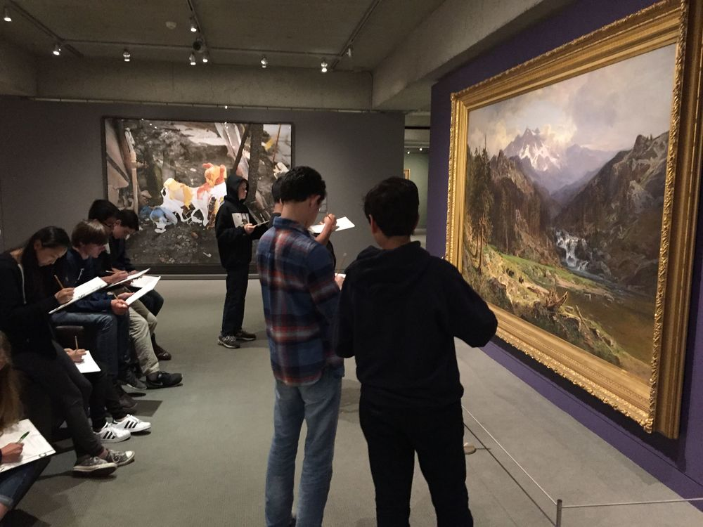 Today we took a field trip with 36 ninth grade students tot the wonderful Oakland Museum of California. Students completed writing prompts based on the museum's Gallery of California Art. Check out the writing prompts that I created here.