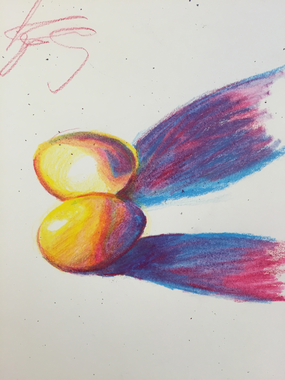 White On Primary Color Drawings Using Only Prismacolor Pencils In The Colors Cyan Magenta Yellow And Black Students Drew Eggs